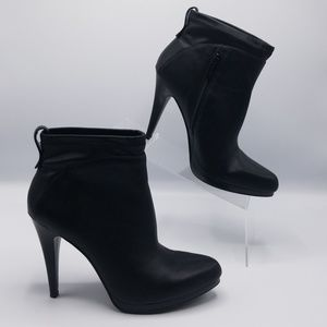Nine West Ankle Black Leather Platform Heels